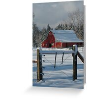 Red Barn Snowed in the Winter Greeting Card