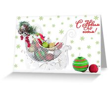 Christmas Sled Filled with Ornaments Vintage  Greeting Card