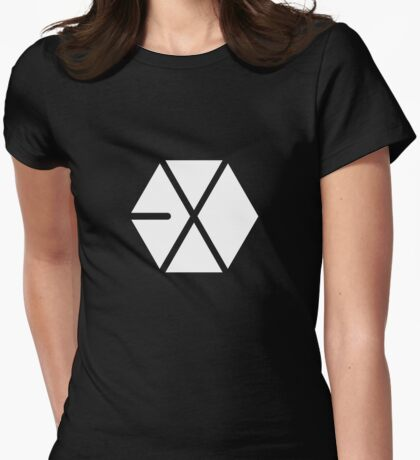 EXO White Logo Womens Fitted T-Shirt