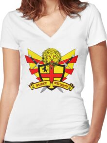 Burke Beckett Coat of Arms Women's Fitted V-Neck T-Shirt