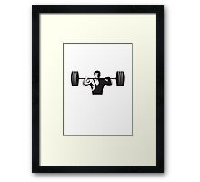 Weightlifter Lifting Weights Retro Framed Print
