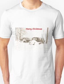 Two Classic American cars in Snow Storm T-Shirt