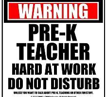 Warning Pre-K Teacher Hard At Work Do Not Disturb by cmmei