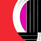 Geometric Guitar Abstract in Red Pink Black White by Natalie Kinnear