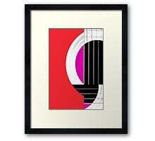 Geometric Guitar Abstract in Red Pink Black White Framed Print