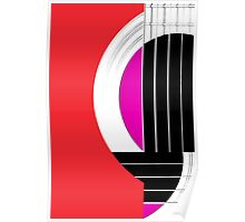 Geometric Guitar Abstract in Red Pink Black White Poster