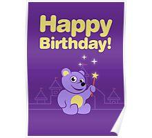 Purple Cartoon Teddy Bear Fairy Birthday Poster