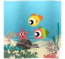 sea star friend with fishes Poster