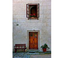 Door, Bench, And Window Photographic Print