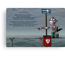 Silly Illustrated Sea Monkey Poem Canvas Print