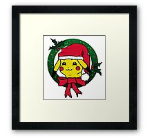 Christmas Wreath Pikachu Framed Print