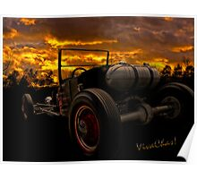 Ford Rat Rod T and a Sundown Destination Poster