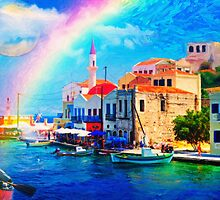 landscape  greece village pier rainbow-art by Adam Asar