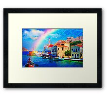 landscape  greece village pier rainbow-art Framed Print