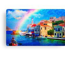 landscape  greece village pier rainbow-art Canvas Print