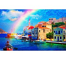 landscape  greece village pier rainbow-art Photographic Print
