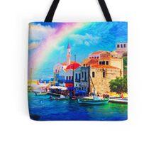 landscape  greece village pier rainbow-art Tote Bag