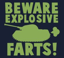 BEWARE Explosive farts light green with military tank Kids Tee