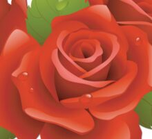 Roses, Flowers, Leaves, Petals - Red Green  Sticker