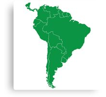 Blank green South America map Canvas Print