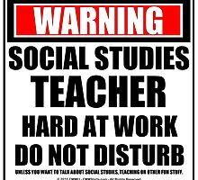 Warning Social Studies Teacher Hard At Work Do Not Disturb by cmmei