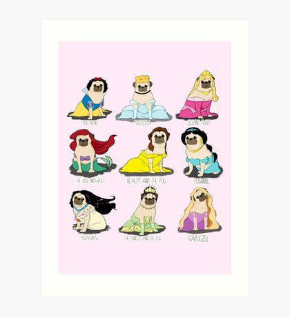 Pug Princesses Art Print