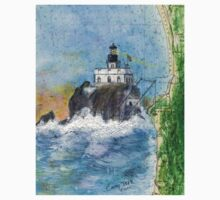 Tillamook Rock Lighthouse OR Nautical Map Cathy Peek Art One Piece - Short Sleeve
