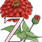 Z is for Zinnia floating by Stephanie Smith