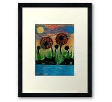 Giant Flowers by the Lake Framed Print
