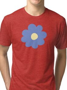 Flowers, Blossoms, Blooms, Petals - Blue Yellow Tri-blend T-Shirt