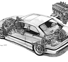 BMW E36 M3 Cutaway - Text Removed by Steve Pearcy