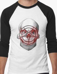 Pentagram Baphomet Skull. Men's Baseball ¾ T-Shirt