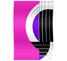 Geometric Guitar Abstract in Pink Purple Black White Poster
