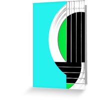 Geometric Guitar Abstract in Turquoise Green Black White Greeting Card