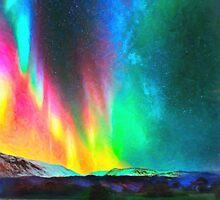 rainbow Aurora Borealis art by Adam Asar
