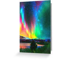 rainbow Aurora Borealis art Greeting Card