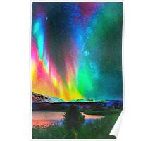 rainbow Aurora Borealis art Poster