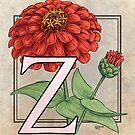 Z is for Zinnia card by Stephanie Smith