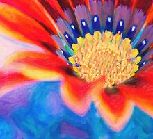 Red flower close up art by Adam Asar