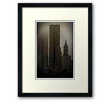 Concrete, Steel, Glass and Fog Framed Print
