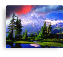 snowy mountains art Canvas Print
