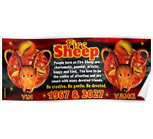Chinese zodiac Fire Sheep 1967,2027 Poster