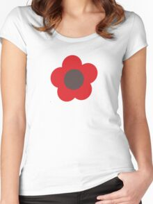 Flowers, Blossoms, Blooms, Petals - Brown Red Women's Fitted Scoop T-Shirt