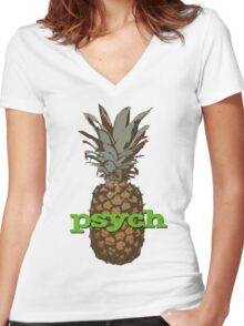 Psych Pineapple Women's Fitted V-Neck T-Shirt