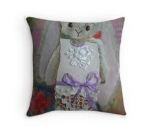 523 Rabit painting by Gerda Smit Throw Pillow