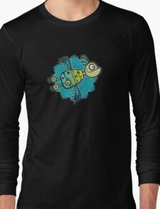 Love Birds In Space 3D ish Long Sleeve T-Shirt