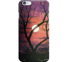 Purple moonlit sky painting iPhone Case/Skin