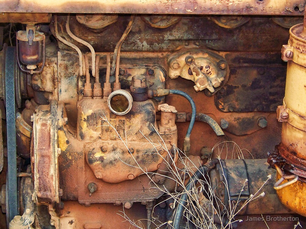 Rusty Farm Tractor Motor by James Brotherton