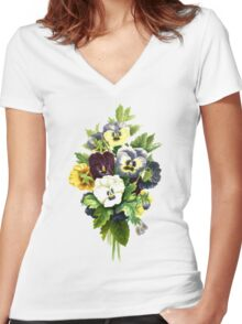 Pansies, Flowers, Leaves - Blue Yellow White Women's Fitted V-Neck T-Shirt
