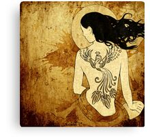 Girl with tattoo Canvas Print